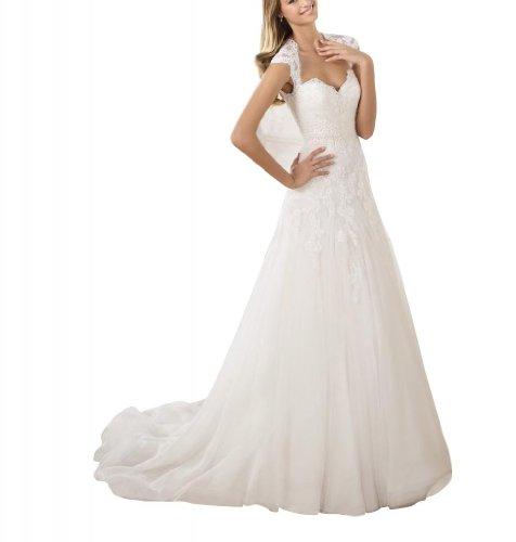 der auf Weiß ausfuehrlich Brautkleider Sexy Rueckseite Applikationen BRIDE Hochzeitskleider Arthemden Zarte Hochzeitskleid GEORGE aermel FwXqCO