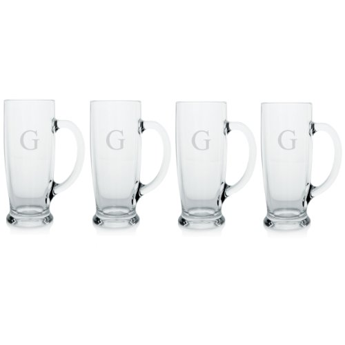 Cathy's Concepts Personalized Craft Beer Mugs, Set of 4, Letter G