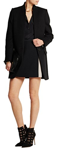 (Women's Black Stand Collar Long Sleeve Blazer Coat Slim Fit Wool Blend Overcoat S )