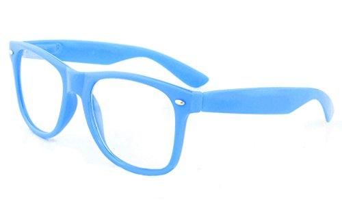 Retro Horned Rim Retro Classic Nerd Glasses Clear Lens (Blue, Clear)