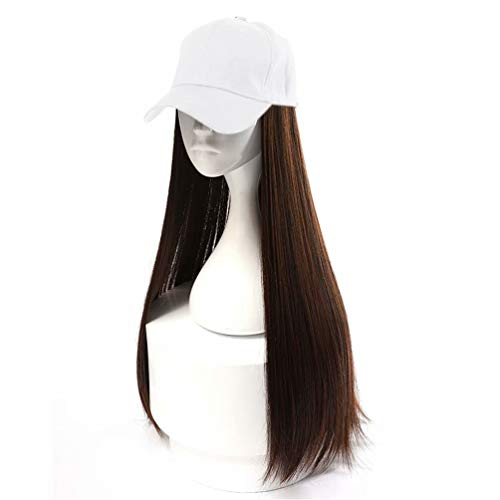 Cosplaza Women's White Baseball Cap Hat with Light Brown Long Straight Synthetic Hair Pieces Hair Extension]()