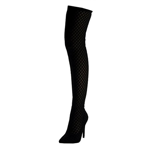 Angkorly Damen Schuhe Oberschenkel-Boot Stiefel - Flexible - Stiletto - Sexy - Fischnetz Schuh Stiletto High Heel 10.5 cm Schwarz