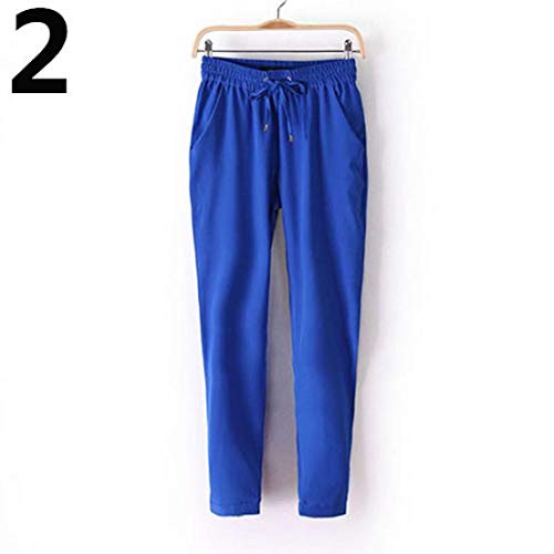Size XL FAIYIWO Women Fashion Casual Harem Pants Elastic Waist Slim Fit Full Length Trousers FAIYIWO Pink