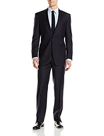 Hart Schaffner Marx Men's 2 Button Chicago Fit Suit with Flat Front Pant, Navy, 40 Short