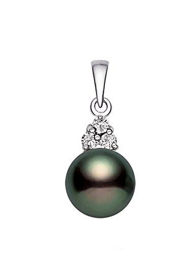 14k White Gold AAA Quality Black Akoya Cultured Pearl Diamond Pendant (7.5-8mm) (Diamonds 8mm Akoya Pearl Pendant)