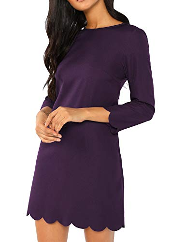 Milumia Women's Casual 3/4 Sleeves Round Neck Solid Scallop Tunic Dress Purple ()