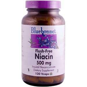 Bluebonnet Flush Free Niacin 500 mg Vegetable Capsules, 120 Count