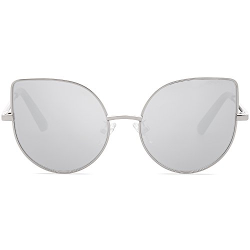 SojoS Kids Fashion Cat Eye Round Sunglasses For Girls UV Protection Mirror Lens SK101 SK301 SK302 SK303 with Silver Frame/Full Silver Mirrored Lens -