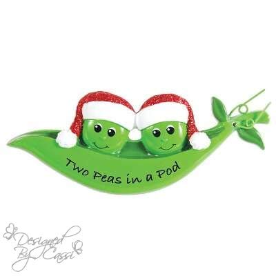 (DesignedByCassi Personalized Christmas Ornament Pea Family of 2/ Two Peas in a Pod!/ Couple/Pea Pod/Newlywed/Friends/Coworkers Custom)