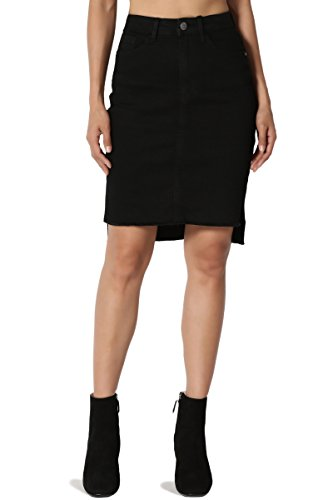 TheMogan Junior's Hi Low Raw Hem Side Slit High Waist Pencil Denim Skirt Black S
