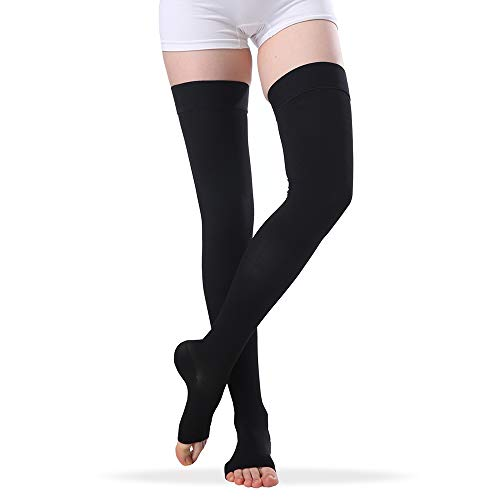 Open Toe Compression Stockings Women Men, Thigh-High Firm Support 20-30 mmHg Graduated Compression Socks – Moderate Toeless Medical Support Hose Swelling Varicose Veins Edema (Black, X-Large)