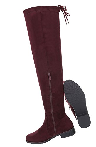 Damen Schuhe Overknee Stiefel Moderne Weinrot