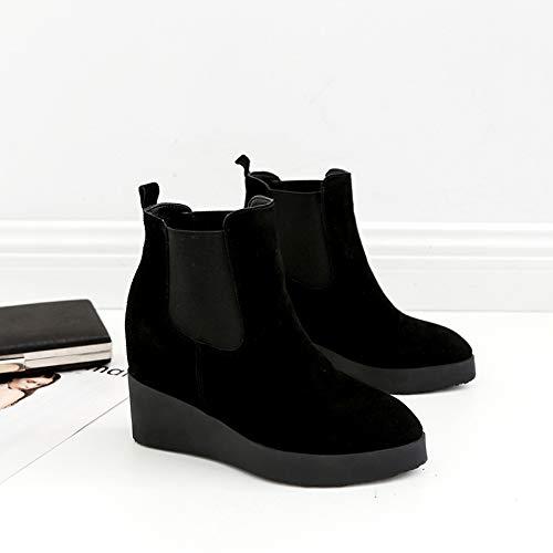 HOESCZS Stiefel Damen Woherren Herbst Und Winter Ultra High Heel Stiefel Leder Mode Erhöhen Weibliche Stiefel Keilabsatz Stiefel Frauen