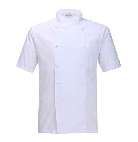Nanxson(TM Kitchen Cotton Uniform Chef Working Coat with Air Mesh CFM0029 (White Short Sleeves, XXL) by Nanxson
