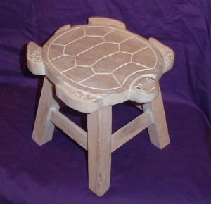 (Turtle Hand Carved Wooden Foot Stool)
