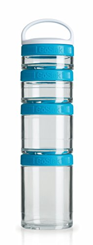 BlenderBottle GoStak Twist n' Lock Storage Jars, 4-Piece Starter Pak, Aqua