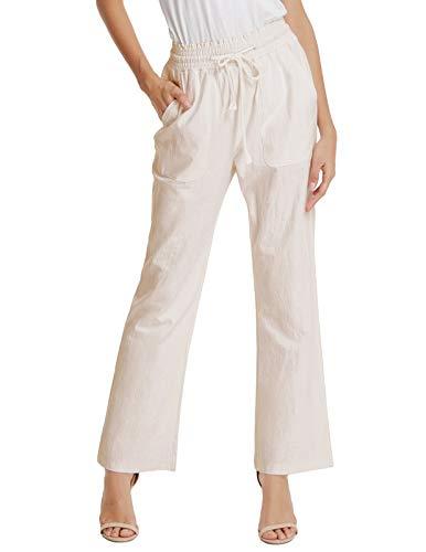 GRACE KARIN Women's High Waist Linen Drawstring Pant Trouser Palazzo Pants Beige L -