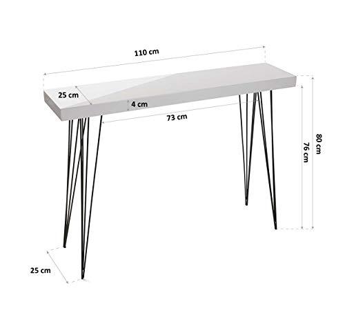 Versa Console Dallas Meuble Table d'Entrée Table d'Appoint Design Console en Bois et Métal Meuble Entree Buffet…