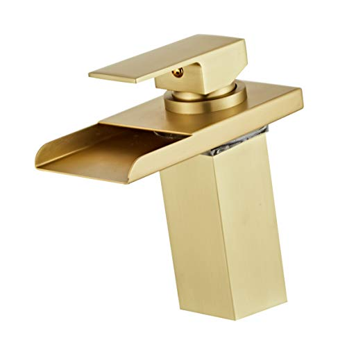 Wovier Brushed Gold LED Water Flow Color Changing Waterfall Bathroom Sink Faucet,Single Handle Single Hole Vessel Lavatory Faucet,Basin Mixer Tap