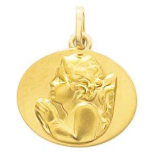 So Chic Bijoux © Pendentif Médaille Ovale Ange Gardien Raphaël qui Prie Or Jaune 750/000 (18 carats)