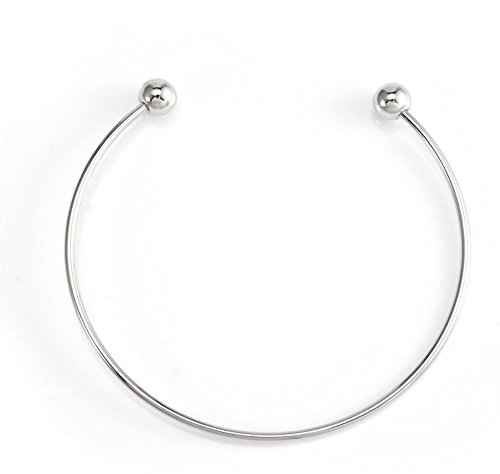 - 2pc Top Quality 7.5 inch Stainless Steel 3mm Bracelet Bangle Easy Use fit All Large Hole Charm beads Jewelry Craft Making CF74