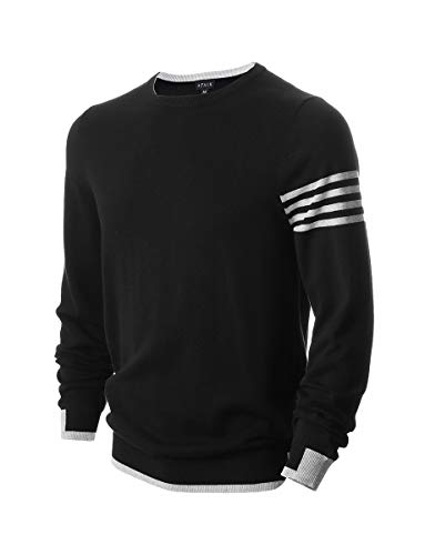 AFAIK Men's Long Sleeve Pullover Crew Neck Cotton Knitted Casual Sweater (X-Large, 1012-Black)