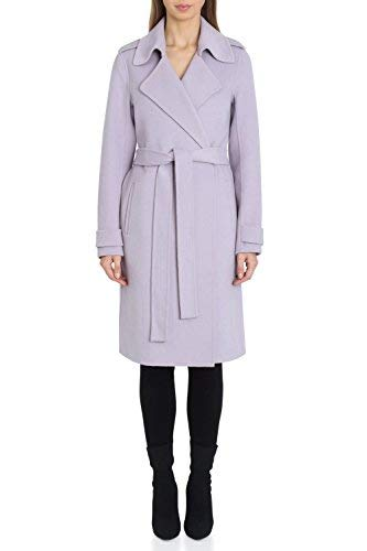Badgley Mischka Women's Double Face Wool Wrap Trench Coat, Lavender, Extra Small