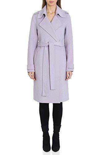 Badgley Mischka Belt - Badgley Mischka Women's Double Face Wool Wrap Trench Coat, Lavender, Extra Small