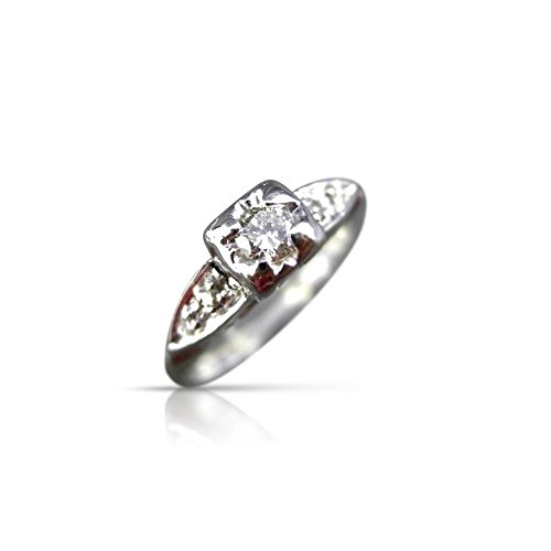 Milano Jewelers OLD EURO MINE CUT DIAMOND 14KT WHITE GOLD FILIGREE PROMISE RING #11634 ()