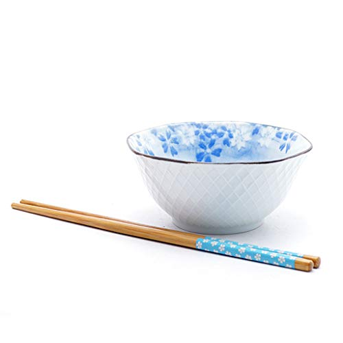 JIANMING Bowls Japanese Ceramic Rice Soup Bowl, Assorted Sakura Flower With Different Colors (color : A)