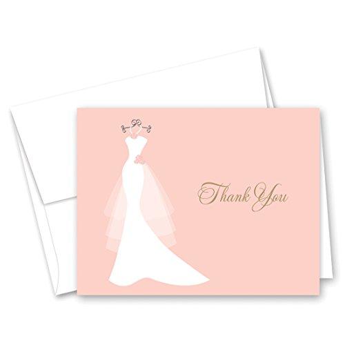 50 Cnt Pink Bridal Shower Thank You Cards - Wedding Dress (Inkjet Pearl)
