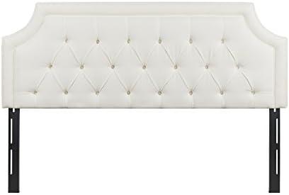 Jennifer Taylor Home, Headboard, King, Antique White, Linen Blend, Hand Tufted, Height Adjustable