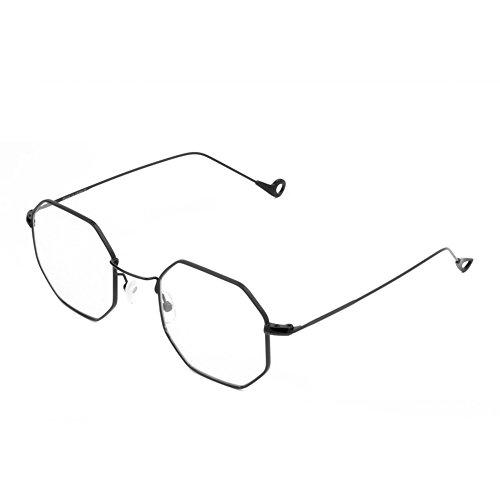 Cramilo Small Modern Geometric Hexagonal Metal Frames Colored Flat Lens - Hexagon Glasses Frames