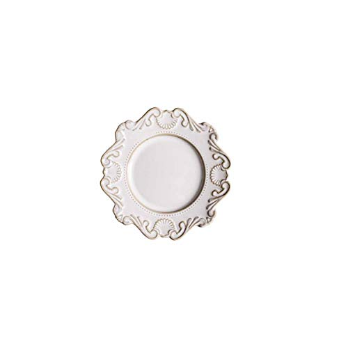 Haoyushangmao Plate Baroque Old Ceramic Tableware Dish Western Dish Plate Dish Dish Plate Salad Bowl Soup Bowl (Color : White, Size : 6 inches)