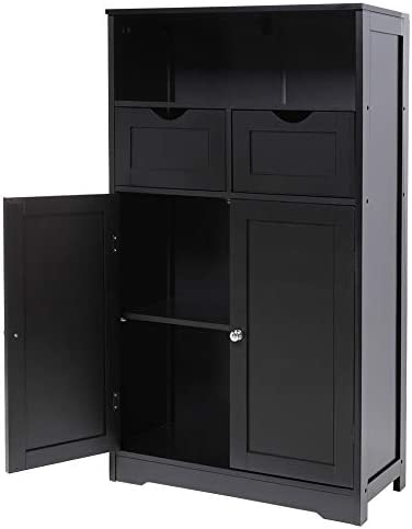 IWELL Large Bathroom Floor Storage Cabinet with 2 Drawers & 2 Shelf, Free Standing Towel Sideboard with 2 Door, Medical File Cupboard for Living Room, Bedroom, Black