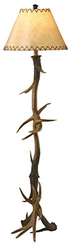 Trophy Deer Antler Floor Lamp 66 Inches Tall Faux Leather Shade