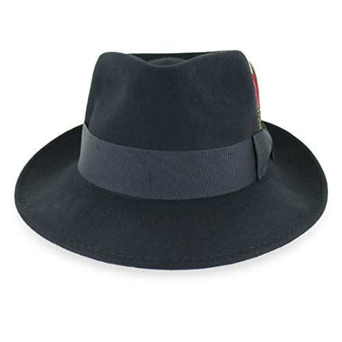 Belfry Gangster 100% Wool Stain-Resistant Crushable Fedora in 5 Sizes and 4 Colors Black XXL ()