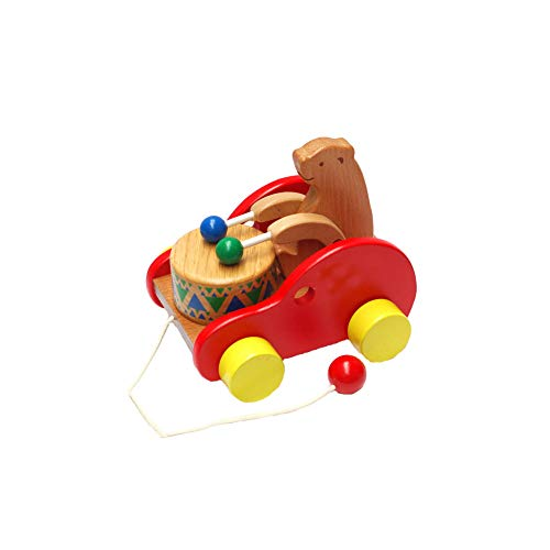 1PC Wooden Bear Car Toy Bear Knock Drum Walking Toys Push and Pull Toy Car Truck Cub Bear Beats Drum Music Educational Toys