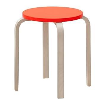 Ikea Hocker Frosta Birke Stapelbar Rot Orange Amazonde Küche