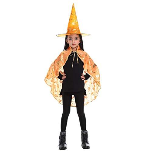 Kids Adult Children Halloween Baby Costume Wizard Witch Cloak Cape Robe+Hat Set (Yellow -C, Size C) -