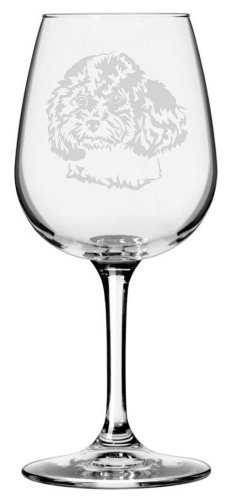 - Toy Poodle Dog Themed Etched All Purpose 12.75oz Libbey Wine Glass