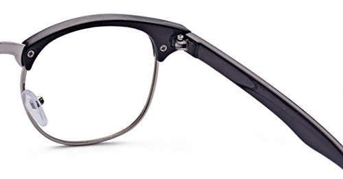 6a609a38de2 Outray Vintage Retro Classic Half Frame Horn Rimmed Clear Lens Glasses for Men  Women 2135c2 Black