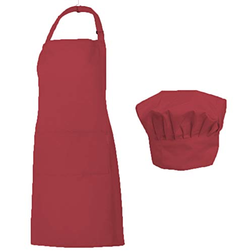 - Homsolver Adjustable Bib Chef Apron Set, Chef Hat and Kitchen Apron Adult White Apron with Butcher Hat for Men & Women, White (Red)