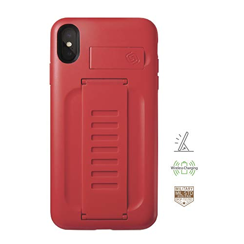Ruby Enhanced - Compatible with Apple iPhone Xs Max Ruby Red Phone Case Grip2ü GettaGrip [Boost with Kickstand] Enhanced Protection Grip CASE [Ruby] Slim Protection Cover with Grip and Kick Stand