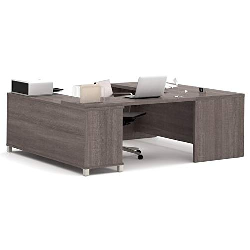 (Wood Executive Desk with Drawers - Reversible U Shape Desk - Bark Grey)