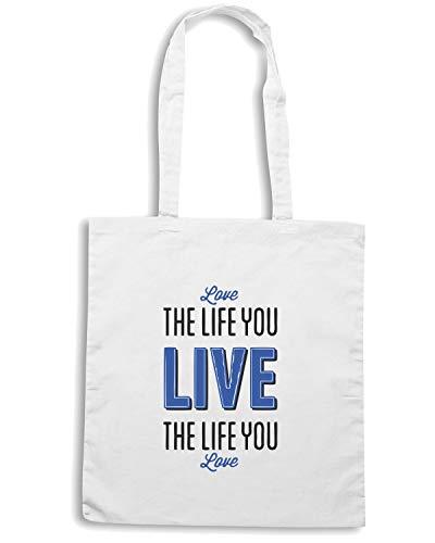 THE Borsa LIFE YOU LIVE LOVE CIT0157 Shopper Bianca qwgAHI
