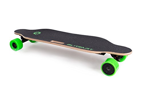 BLITZART Tornado Electric Skateobard Longboard E-Skateboard Motorized Electronic Hub-Motor, 3.5' Wheels, Green