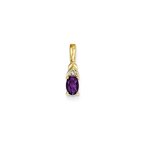 Solid 14k Yellow Gold Diamond & Simulated Amethyst Pendant (4mm x 16mm)