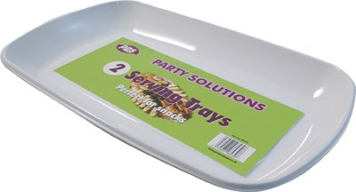 6 x WHITE PLASTIC DISPOSABLE SERVING PLATTER/TRAY - 36cm x 21cm Great for sharing FREE DELIVERY by Party & Paper Solutions