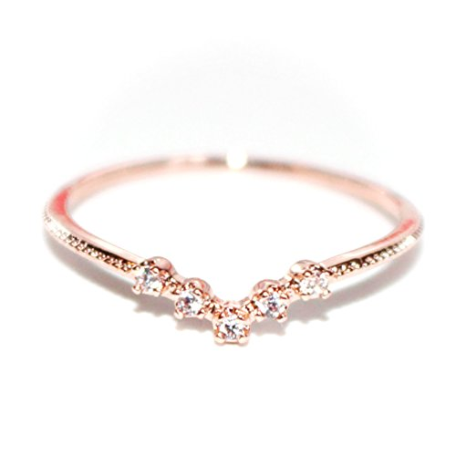 Gieschen Jewelers -Crystal V- 18K Rose Gold-Plated CZ Crystal Dainty Ring, Size 6.5 ()